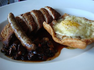 Hearty duck steak and eggs.