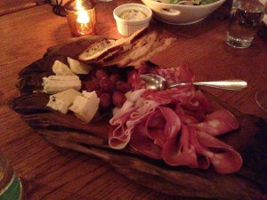Cheese and meat board.
