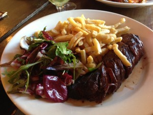 Steak frites and salad.